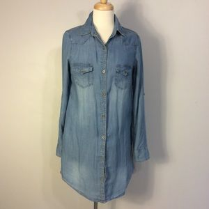 Haute Monde Distressed Denim  tunic shirt dress M